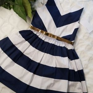 Camilla blue and white striped little girls dress